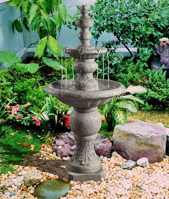 Cascading Water Fountains Outdoor.Outdoor Tiered Fountain Cascading Water Large Stone Tall 52 Inch Decor Electric