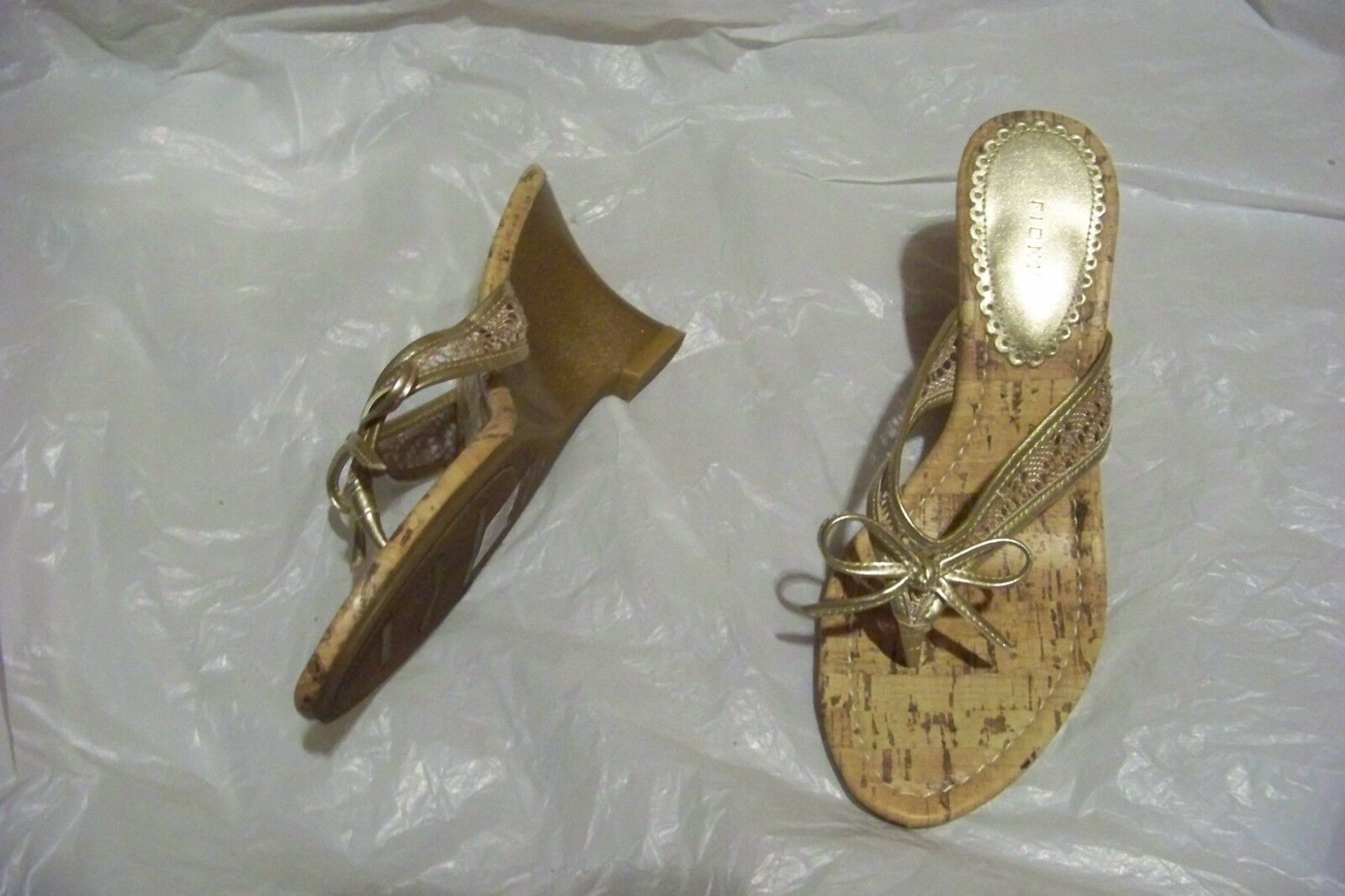 womens wedge fioni gold thing strap wedge womens heels shoes size 6 7cba4d