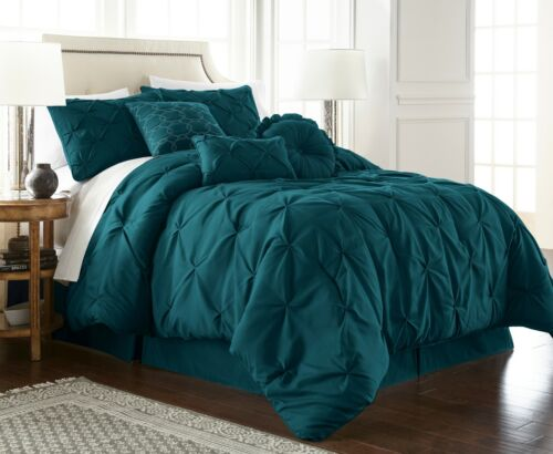 Chezmoi Collection Sydney 7-Piece Teal Pinch Pleated Pintuck Comforter Set