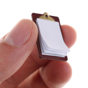 Mini-Dollhouse-Miniature-Accessories-Alloy-Clipboard-with-Real-Paper-Attached