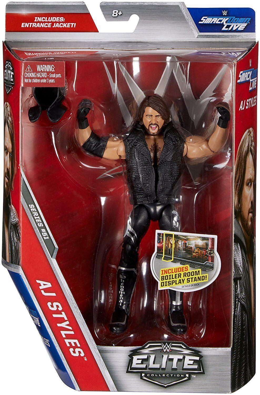 WWE SERIE ELITE 51 AJ STILI WWF WRESTLING MATTEL ACTION FIGURE GUANTI TNA ROH