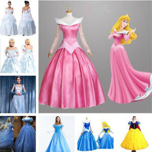 Image is loading Adult-Cinderella-Snow-White-Aurora-Costume-Fairytale- Princess- & Adult Cinderella Snow White Aurora Costume Fairytale Princess Dress ...