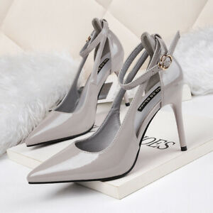 Pumps-Frau-Elegant-Stilett-10-CM-Grau-Poliert-Komfortabel-Leder-Kunststoff-1181