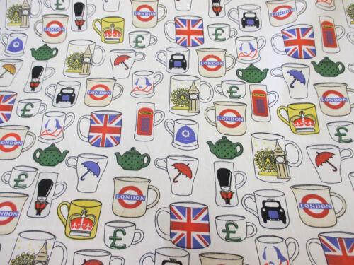 British Printed 100/% Cotton Poplin Fabric. Novelty London Mugs