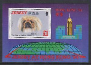 Jersey-1994-Hong-Kong-Briefmarke-Ausst-Year-Of-The-Hund-Blatt-MNH-Sg