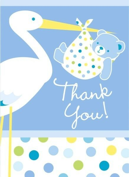 Blue Stork Boy Baby Shower Thank You Note Cards 8ct Ebay