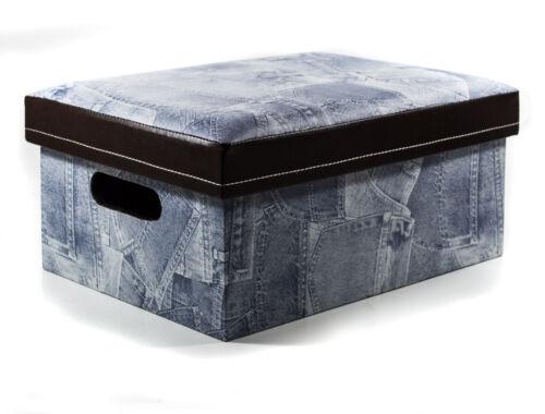 Aufbewahrungs Box,Jeans-Optik,mit Sitzfunktion,Kunstleder,20x 42x 30cm,Fotobox