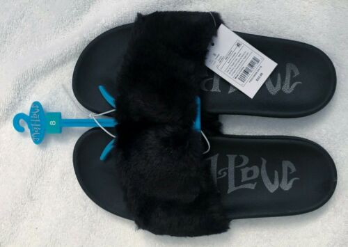 Women/'s Mad Love Phoebe Target Slides Footed Sandals Soft Furry Black Size 8.
