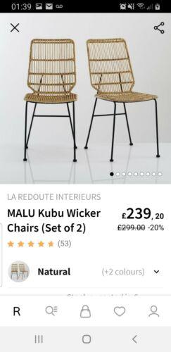 La Redoute Malu Kubu Wicker Chairs 4 Rrp £599.99
