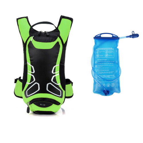 12L Camping Hiking Running Cycling Bag Hydration Backpack 2L Water Bladder