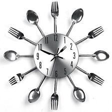 Modern Design Sliver Cutlery Kitchen Utensil Wall Clock Spoon Fork Clock 31cm