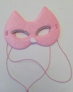 Fancy Dress Dressing Up Children/'s birthday Party Girls Pink Fabric Cat Mask