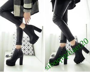 Fashion-Womens-Black-High-Block-Heels-Platform-Punk-Zip-Ankle-Boots-Shoes-Size