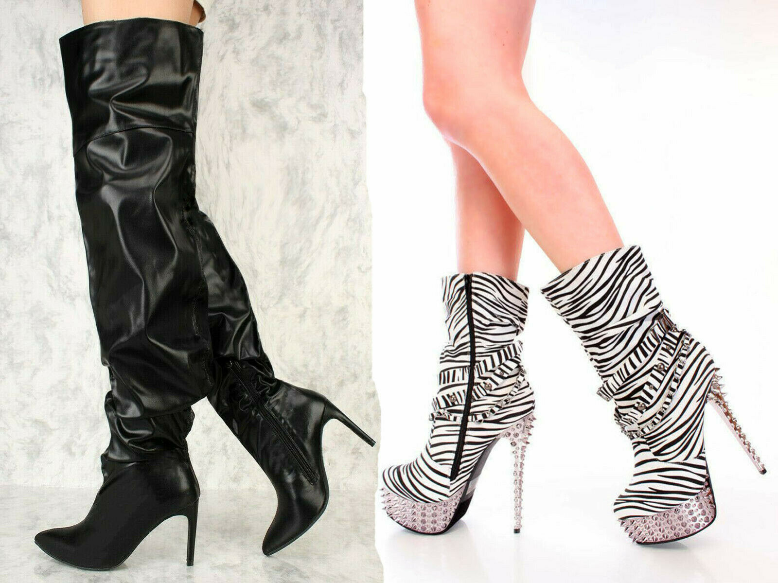 Neu Schwarz Weiß Zebra Druck mit Spikes Kniehohe Stiefel Kunstleder