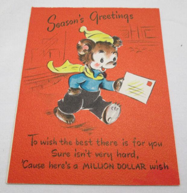 Vintage Christmas Greeting Card 1948 Million Dollar Wish