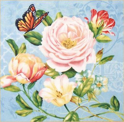 "PAIR OF WILMINGTON VICTORIAN ROSES BUTTERFLIES FABRIC PANELS 11 3/4 X12""  SET #A"