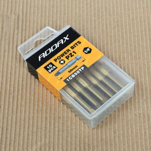 """Box of 10 ADDAX Timco 50mm PZ1 1CB50TP Pozi Premium Screwdriver Bits 1//4/"""""""