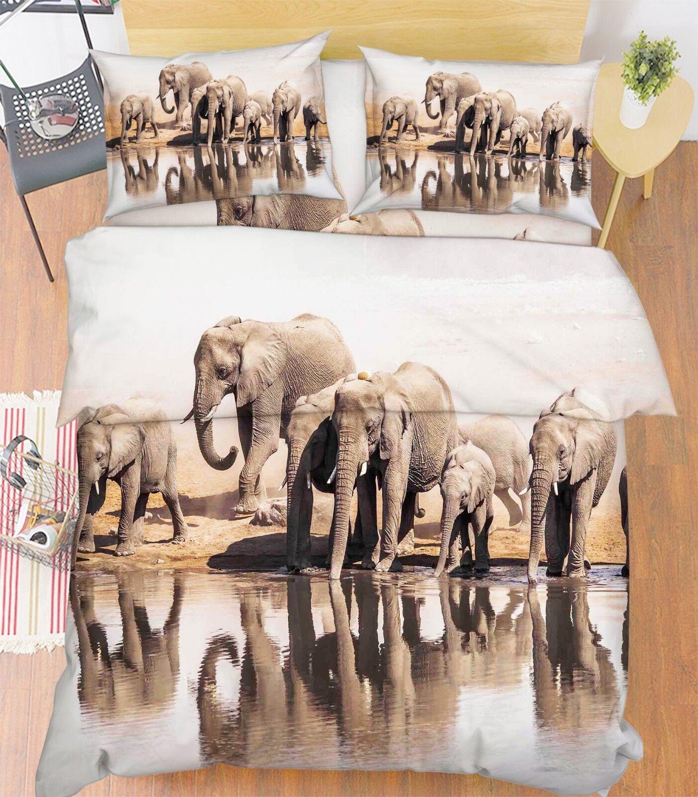3D Elephant Desert 76 Bed Pillowcases Quilt Duvet Cover Set Single King UK Lemon