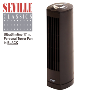 Oscillating Personal Tower Fan Seville Classics UltraSlimline 17 in Black