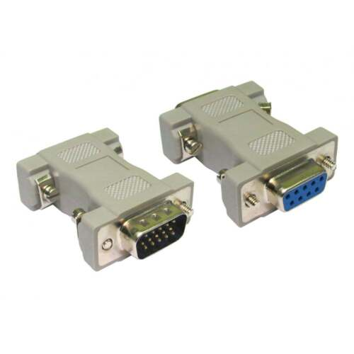 DB9 9 Pin Female to HD15 Male VGA Serial Adaptor Converter