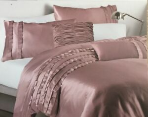 Image Is Loading Dkny Luxe Ruffle Rose Pink King Duvet Comforter