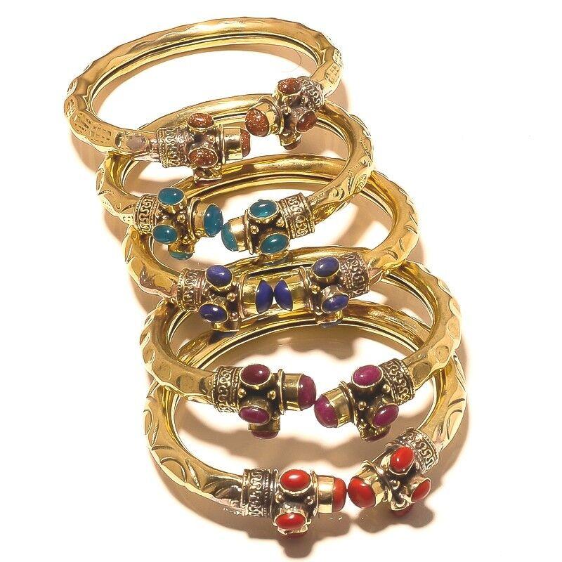 Coral Onyx Lapis Lazuli Ruby Brass Cuff Bangel Tibetan Silver Gemstone Jewellery