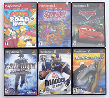 THE SIMPSONS ROAD RAGE SCOOBY DOO DISNEY CARS CALL OF DUTY PS2 VIDEO GAME LOT.