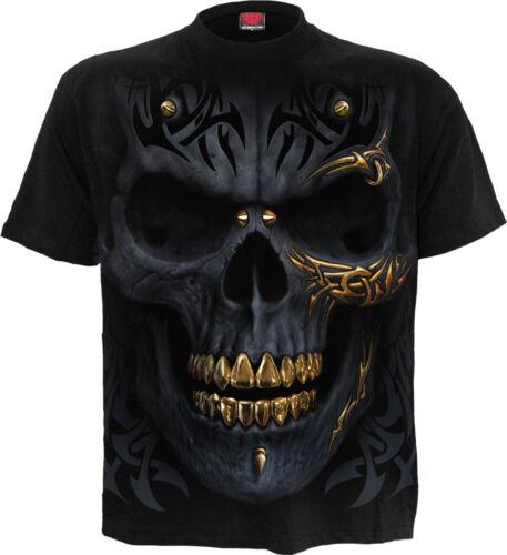Black Gold Mens T-Shirt BlackDeathFashionSkullsTribalSpiral Di...