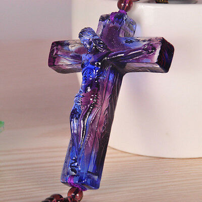 Liuli Feng Shui Crystal Jesus Cross Talisman Hanging Ornaments Gift Packing NEW