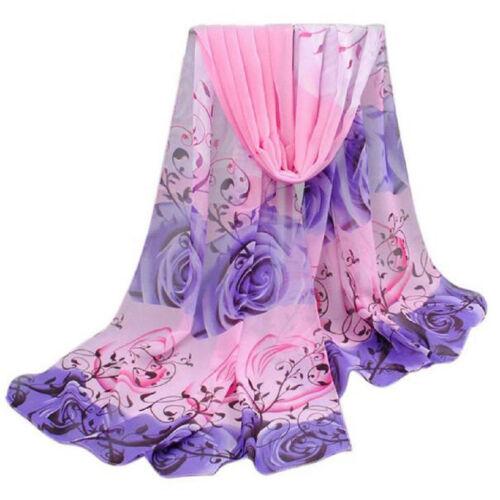 New Women Casual Rose Pattern Chiffon Shawl Scarf Long Barry Wrap Stole