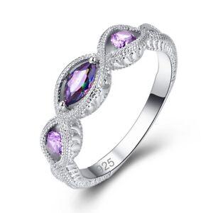 2f9159f05cf4 Image is loading Rainbow-Amethyst-Women-Silver-Wedding-Ring-Multicolored -Purple-