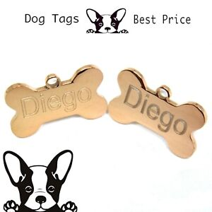 Engraved-Pet-Tags-Nickel-DOG-CAT-ID-Disc-Rose-Gold-Deep-Engraving-Name-Identity