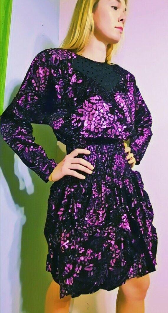 *DEADSTOCK* Vintage NWT DIANE FREIS 1980s boho METALLIC PURPLE Dress 1 SIZE