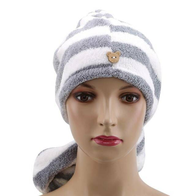 Soft Coral Fleece Quick Dry Towel Turban Twist Hair Head Wrap Loop Hat Bath Cap