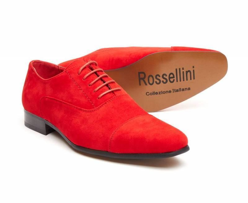 Rossellini Mario Scarpe Da Finta Uomo Rosso In Finta Da Pelle Scamosciata Lacci Scarpa casual a punta c90ec1