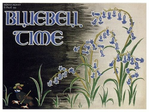 Old Travel Poster reproduction Bluebell time