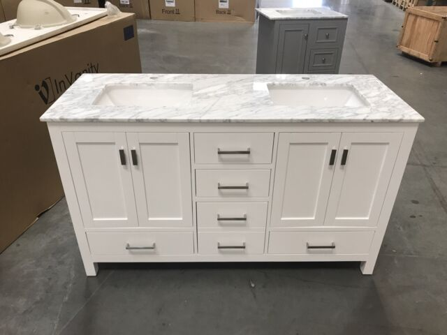 Marble Vanity Top White Single Sink