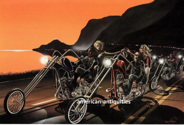David Mann Biker Art Motorcycle Poster Print Easyriders Pacific Coast Highway