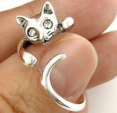 HANGING CAT CUTE LOVELY STERLING 925 SILVER RING Sz 7.5