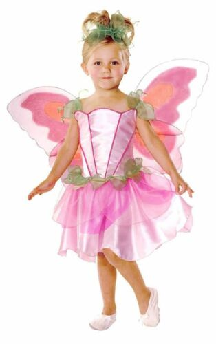 Girls Pretty Pink Pixie Fairy Tale Princess /& Wings Fancy Dress Costume Outfit