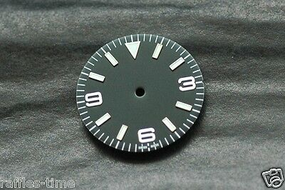 Plain Explorer Watch Dial for ETA 2824 2836 Movement Green Lume Markers
