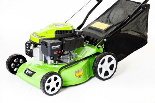 16″ Hand Push Petrol Lawnmower With Steel Deck /& Central Height Adjustment