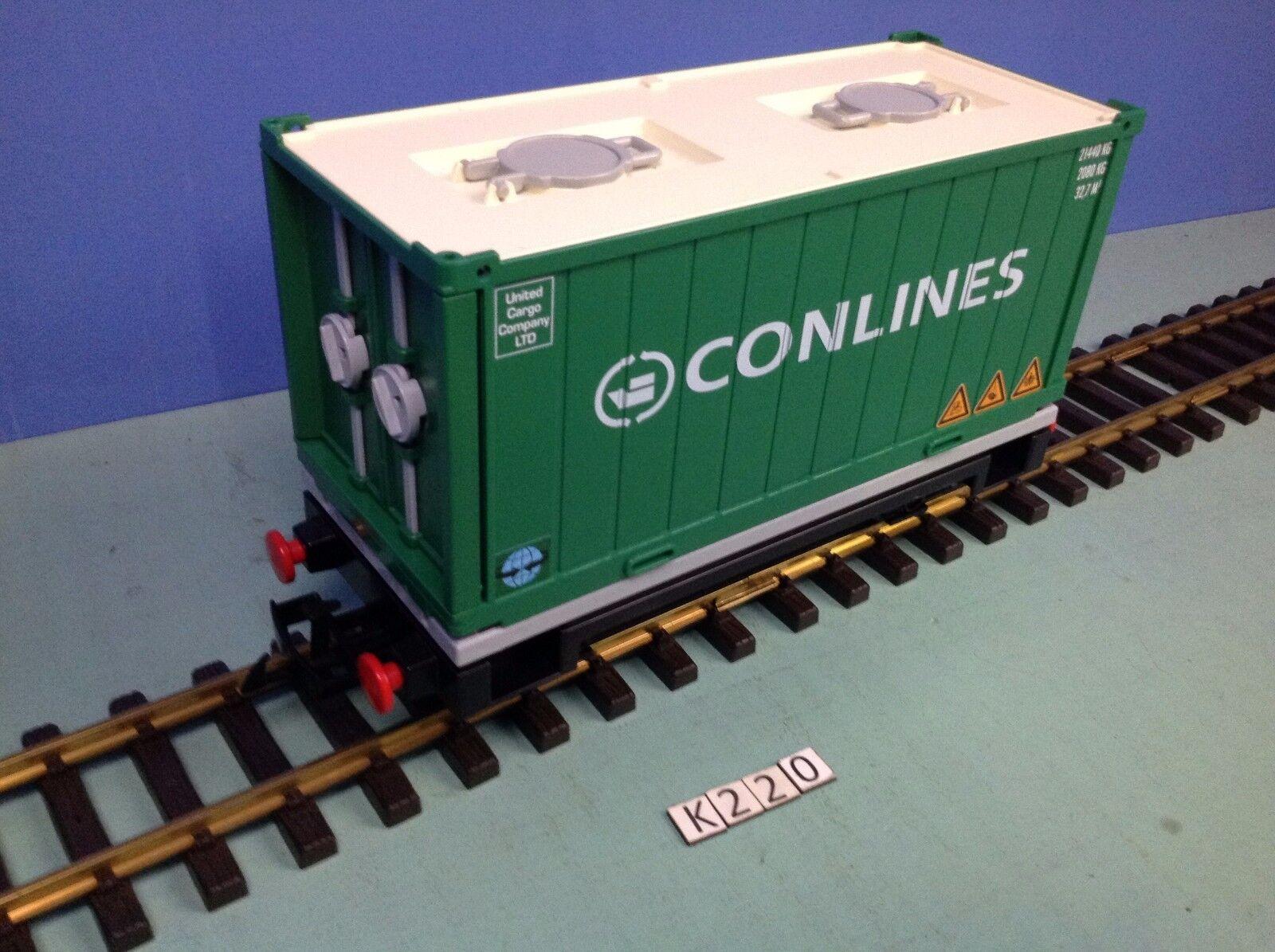 (K220) playmobil Wagon porte contener train RC Conlines ref 4085 rare 5258 4010