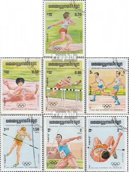 Cambodia 568-574 (complete issue) used 1984 Olympics Summer ´84