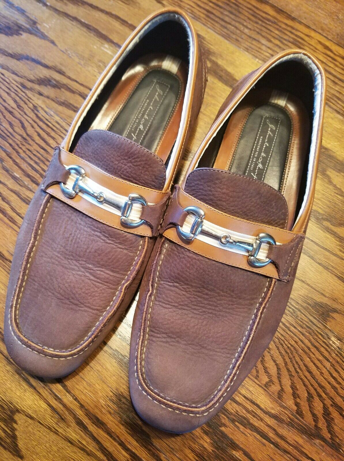 JOHNSTON & 11 MURPHY DRESS SHOES MENS 11 & BUCKLE LOAFERS LEATHER MADE IN ITALY 093c80