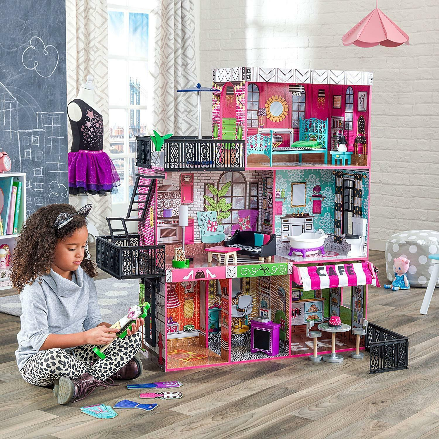Barbie Size Doll House Playhouse Dream Girls Play Wooden Dollhouse w// Furnitures