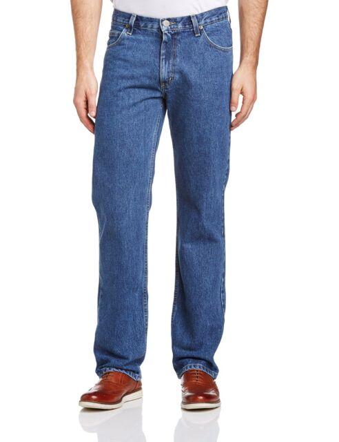New Men's Lee Brooklyn Jeans Dark Stonewash Blue Regular Fit Comfort Leg Denim