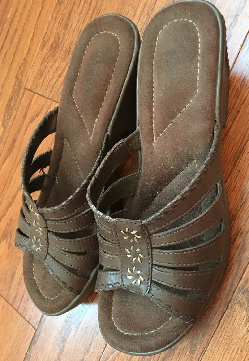 NWOB On SONOMA BROWN LEATHER Slip On NWOB SANDALS 8 M c3deff