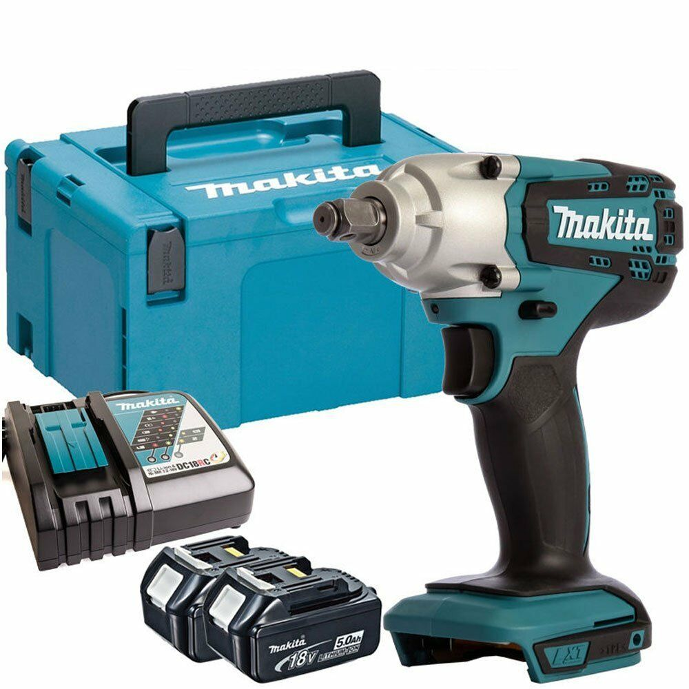 Makita DTW190Z 18V LXT Impact Wrench with 2 x 5.0Ah Batteries & Charger in Case