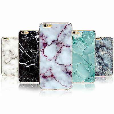 Marble Stone Print Texture Visual Soft TPU Case Cover For 4 5 5C 6 6S Plus 7 7P